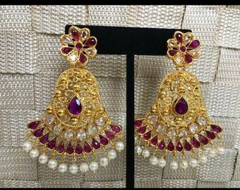 Kundan and Gold plated Purple chandelier earrings/ bollywood / large statement indian earrings/ boho and gypsy style