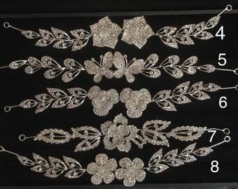 wedding hairpiece, bride hairpiece, rhinestones, elastic hairpiece, gold, silver, flower, butterfly