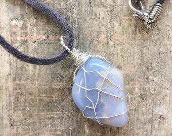 Blue Chalcedony wire wrap necklace