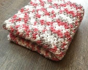 Pink, White, Grey Baby Blanket - Crochet