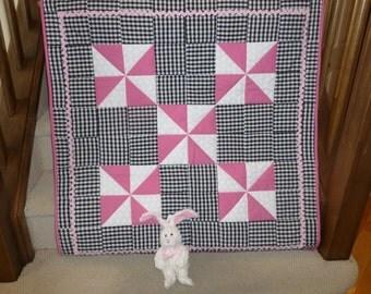 Pink Pinwheels Baby Quilt