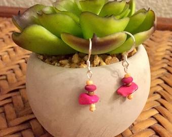 FREE SHIPPING - Pink Dangle Earrings