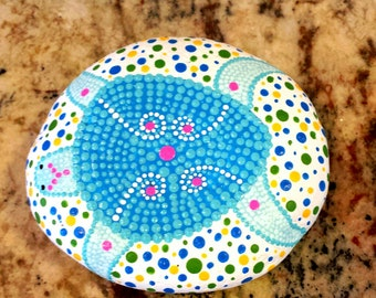 Hand Painted Turtle Mandala Stone, Healing Stone, Mandala Meditation Stone