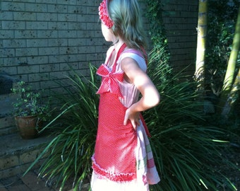 Girls  Red Apron with frilly headscarf