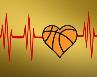 Heartbeat basketball sport SVG Clipart Cut Files Silhouette Cameo Svg for Cricut and Vinyl File cutting Digital cuts file DXF Png Pdf Eps