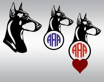 Dog silhouettes svg, Doberman svg, Doberman Pinscher svg, Domberman monogram, Doberman silhouette, Cricut, Cameo, Svg, DXF, Png, Pdf, Eps