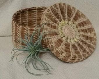 Lidded Wicker Seashell Basket