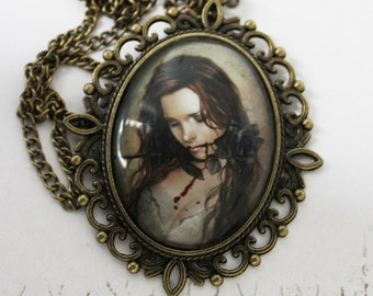 Cameo pendant necklace with Victorian Frances picture gothic vintage