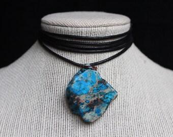 Turquoise Stone Adjustable Tie Choker