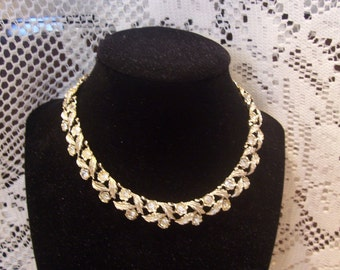 Vintage Coro Choker Necklace with Rhinestones