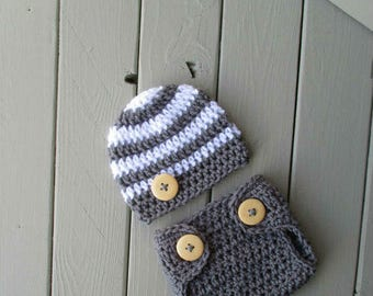 Baby Crochet Hat and Diaper Cover Costume Newborn Boy Photo Prop Newborn Photography Outfit White Dark Grey Baby Photo Outfit