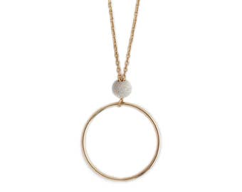 Necklace Duo circle plate gold bead 925 Silver - short (45cm) mid-long (55cm) Long (75cm)