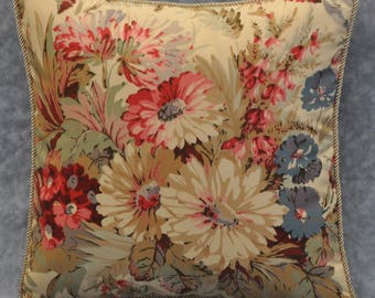Decorative Floral Pillow - Shabby Chic Pillow - Square Decorative Pillow