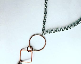 SALE!!!!! Rose Gold & Spike Necklace • Boho• Mixed Metal Necklace • 18inch chain with drop •