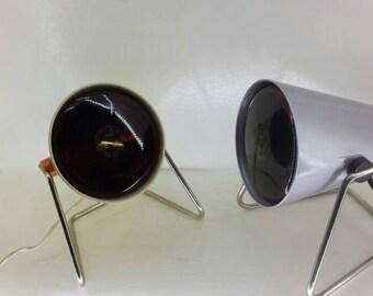 2x vintage retro 1960s philips infraphil heat lamps