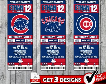 Baseball Chicago Cubs Printable Invitation Tickets - Digital files only