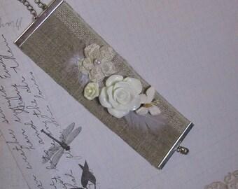 Wedding bride linen Cuff Bracelet