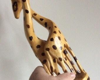 Vintage handcarved wooden giraffe pair. Loving giraffes sculpture. Giraffe couple. African wood art decor.