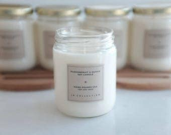 Passionfruit and guava natural soy candle, Handmade, soy candle, eco friendly, large 13 oz