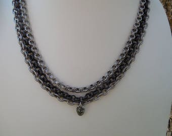 3 Strand Chain Necklace Boho Chic