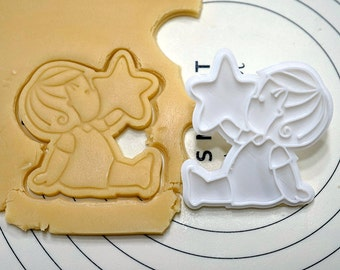 Boy Looking Star Cookie Cutter and Stamp
