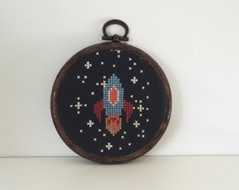 Space Rocket and Stars Framed Cross Stitch