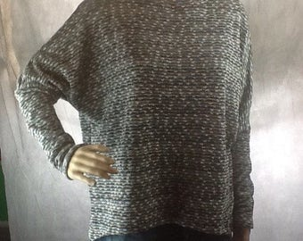 Loose fitting grey with silver thread, fully lined jumper size 10/14