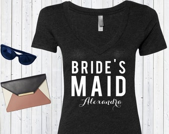 Bridesmaid [Custom Name] V neck Tshirt / High Quality Bridemaid Tshirt / Bridal Triblend Vneck / Custom Bachelorette Shirts