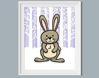 8 x 10 Printable Art, Rabbit, Nursery Art, Nursery Wall Decor, Woodland Animals, Bunny, Bunny Rabbit