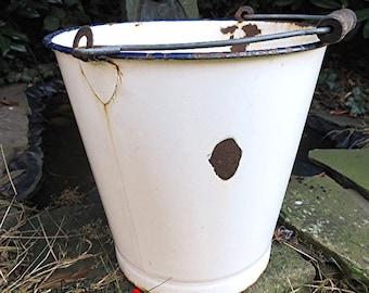Shabby chic white enamel bucket