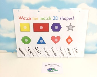 2D shapes matching learning sheet, EYFS, Early years, Nursery, Visual learners, Children's development, Interactive learning