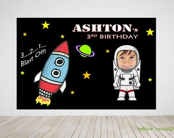 Digital file only- Space Birthday Party Banner, Space Birthday Party Back Drop, Astronaut Birthday, Spaceship Birthday, Digital Printable Co