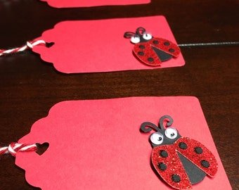 Lady Bug Favor Tags, Goodie Bag Tags, Gift Tags, Lady Bug Party Theme, Lady Bug Bridal Shower, Baby Shower, Birthday - 8 in each order