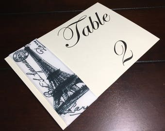 Paris Table Numbers, Eiffel Tower Table Cards, Parisian Party Theme, France Table Number - 1 per order