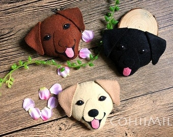 Handmade Labrador Retriever Dog Felt cellphone strap or brooch