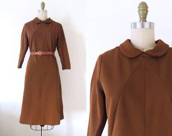 Vintage 1960s mod scooter dress | 60s peter pan collar dress | space age dress | scooter dress | 60s mod dress | brown dress | M