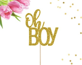 Oh Boy Cake Topper, Oh Baby Cake Topper, Baby Shower Cake Topper, Glitter Cake Topper, Gender Reveal Topper, Pregnancy Announcement