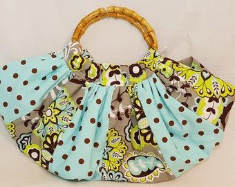 Half circle handbag - Blue brown handbag - Fabric handbag - Handmade purse - Bamboo handle handbag - Fabric bag - Everyday bag