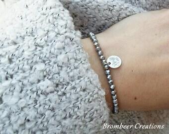 Bracelet silver beads, silver bracelet, Friendship Bracelet, mother's day, bracelet coin pendant, bracelet minimalist, gift