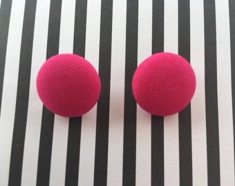 Handmade Bright Pink Fabric Button Earrings
