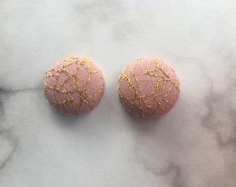 Gold Mesh on Mauve Fabric Button Earrings