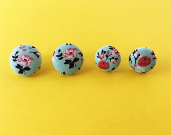 Roses on Mint Fabric Button Earrings