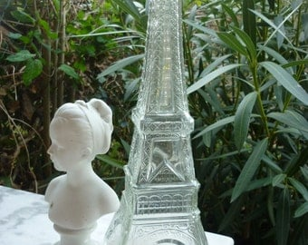 Decanter or Vase Eiffel Tower in chiseled glass made in France