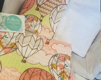 Matching Cotton Flannel Hot air Balloon Receiving/Swaddle Blanket and Burp Rag set baby girl
