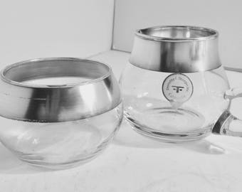 Dorothy Thorpe, Inc Sterling Silver Rimmed Sugar Bowl and Creamer