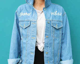 READ MY CHEST denim embroidery jacket