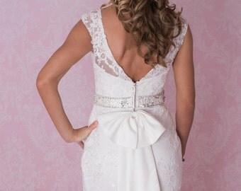 Beautiful premium lace wedding dress V shape back