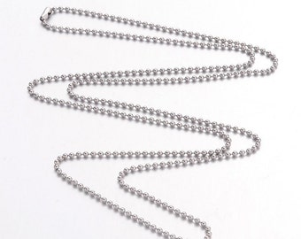 """Stainless Steel Ball Chain 23.6"""" Necklace 1.5mm  Qty: 5  (SSBC-101)"""