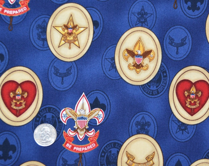 Robert Kaufman Registered Boy Scout Fabric - Blue Merit Badge Print 100% Kona Cotton - RARE