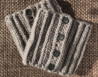 Boot Cuffs, boot toppers, handmade crochet gray leg warmers